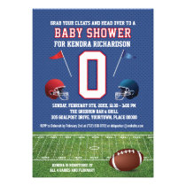 red blue football field baby shower invitation