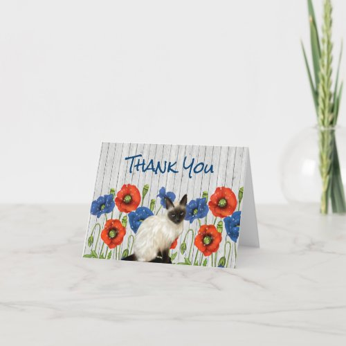 Red and Blue Poppies with Siamese Cat Thank You Card