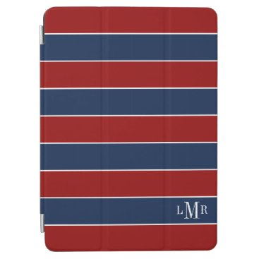 Red and Blue Rugby Stripes Monogrammed iPad Air Cover