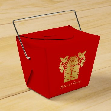 Red and Gold Chinese Love Birds Double Happiness Favor Box