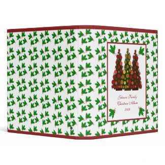 Red and Gold Christmas Tree and Holly Binder binder