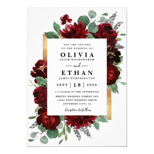 Red and Gold Floral Rustic Elegant White Wedding Invitation