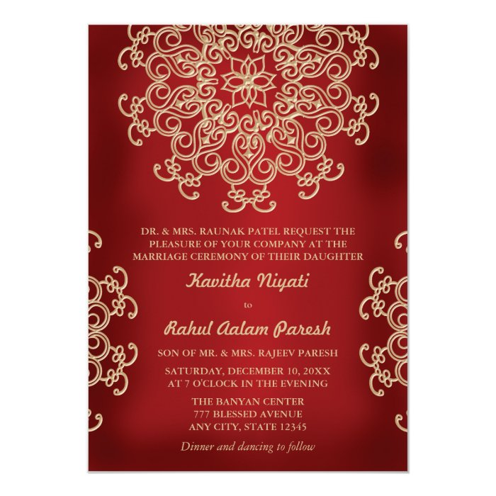 RED AND GOLD INDIAN STYLE WEDDING INVITATION  Zazzle