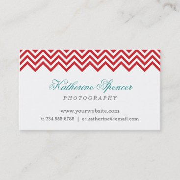 Red and Turquoise Modern Chevron and Polka Dots Business Card