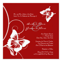 Red and White Butterfly Wedding Invitation