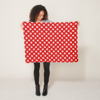 Red And White Paw Print Fleece Blanket