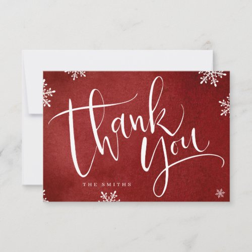 red and white simple modern Calligraphy christmas Thank You Card