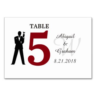 Red and White Table Card