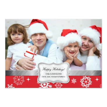 Red and White Winter Snowflakes Photo Holiday Card