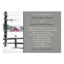 Red Barn in Winter Wedding Invitation