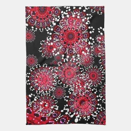 Red Black Abstract Batik Art Tea Towel