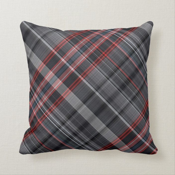 red black and grey plaid throw pillow zazzle com
