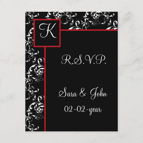 Red Black Damask Wedding Invitations
