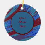 Red Blue Color Swish Abstract Ceramic Ornament