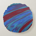 Red Blue Color Swish Abstract Round Pillow