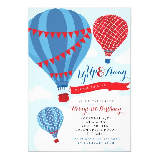 https www zazzle com red blue hot air balloon birthday invitation 256081296548416520