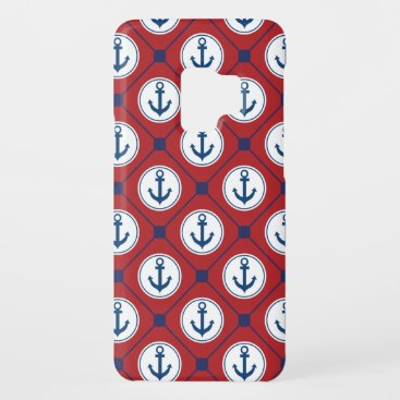 Red Blue Nautical Anchor Pattern Case-Mate Samsung Galaxy S9 Case