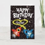 Red & Blue Rockets Heart ~ Happy Birthday Card