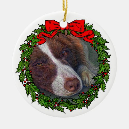 Red Border Collie Art by Glenda S. Harlan Ceramic Ornament