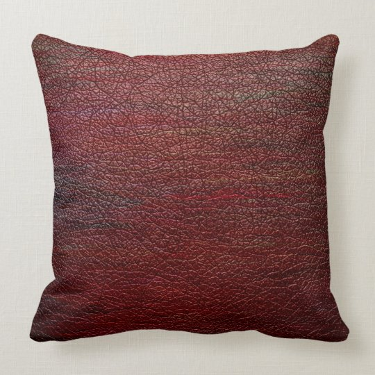 Red Brown Leather 2 Throw Pillow  Zazzlecom