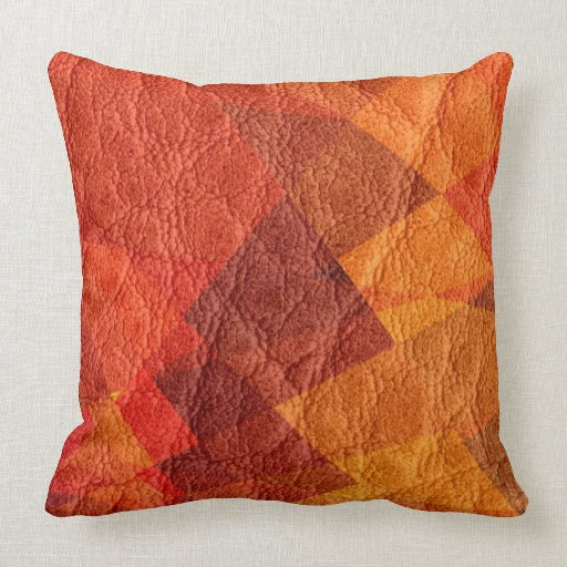 Red Brown Leather Pillow  Zazzle