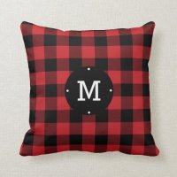 Red Buffalo Check Plaid Monogram Throw Pillow