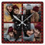 Red Buffalo Plaid Lumberjack Family Photo Collage Square Wall Clock