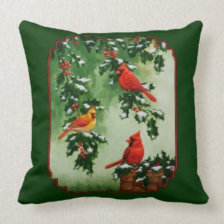 Red Cardinals and Holly Reversible Pillow