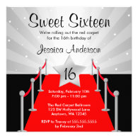 Red Carpet Silver Hollywood Sweet 16 Birthday Custom Invites