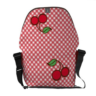 Red Cherries Gingham Messenger Bag