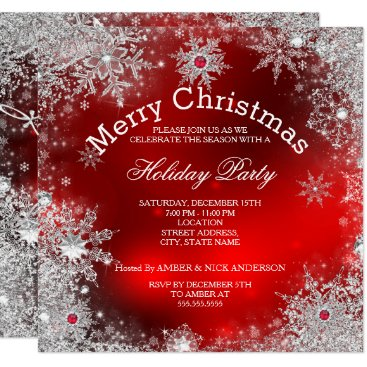 Red Christmas Holiday Party Winter Wonderland Invitation