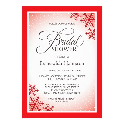 Bridal Shower Invitations Red