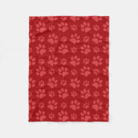 Red dog paw print pattern fleece blanket