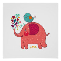 Red Elephant And Bird Poster