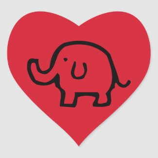 Red Elephant Image Heart Stickers