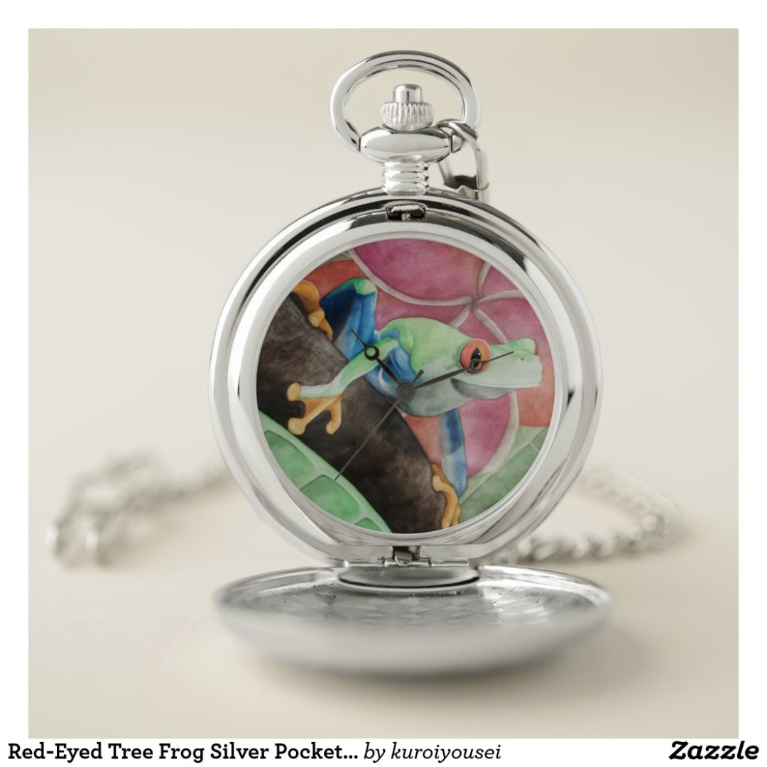 Red-Eyed Tree Frog Silver Pocket Watch