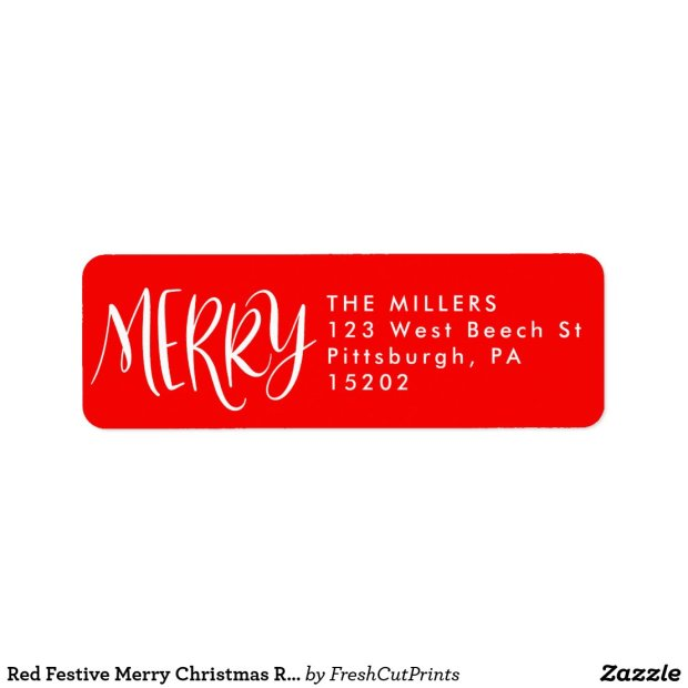Red Festive Merry Christmas Return Address Labels
