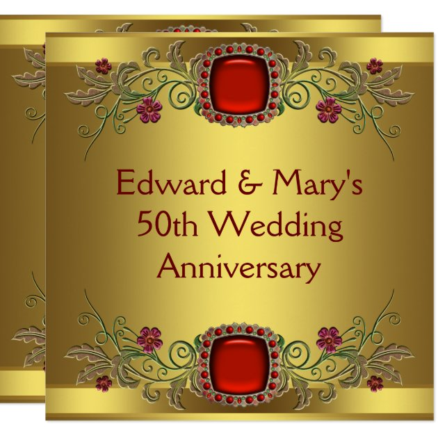 Red Flowers Gold 50th Wedding Anniversary Party Card