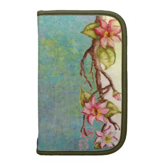 red flowers, spring tree branch, tie dye abstract rickshaw_folio