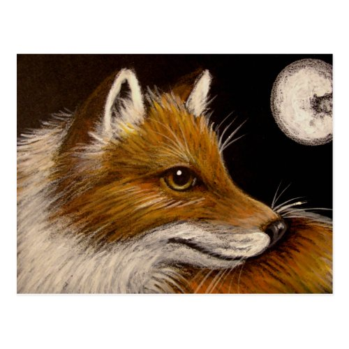 RED FOX - FULL MOON POSTCARD