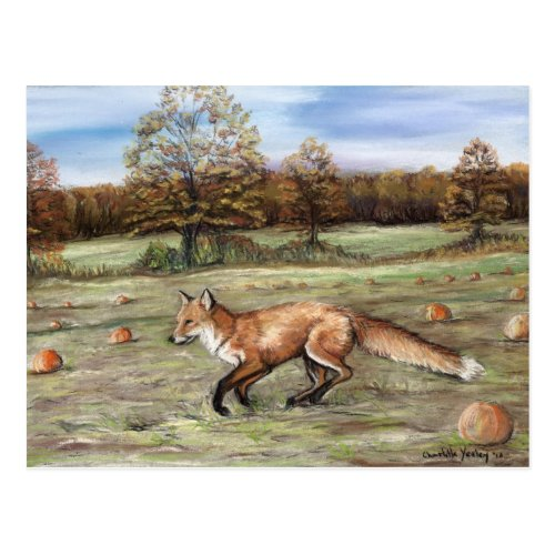 Red Fox in Pumpkin Patch Art Pastel Painting Postcard