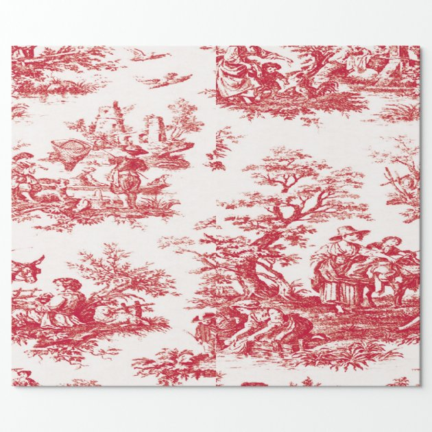 Red French Country Toile Wrapping Paper Zazzle