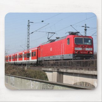Red German Train Mouse Pads