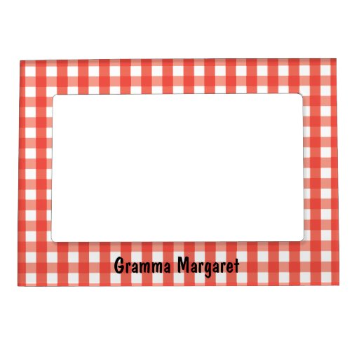 Red Gingham Check Pattern Magnetic Frame   Zazzle