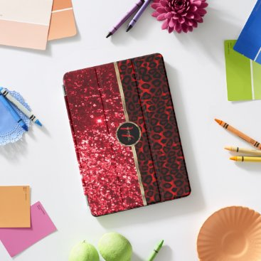 Red Glitter and Leopard Skin iPad Pro Cover