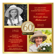 Red Gold Birthday Invitations Then & Now 2 Photos