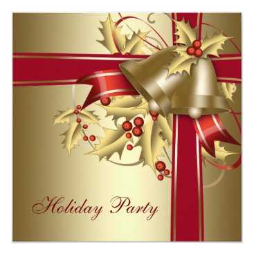 Red Gold Holly Corporate Christmas Holiday Party Invitation