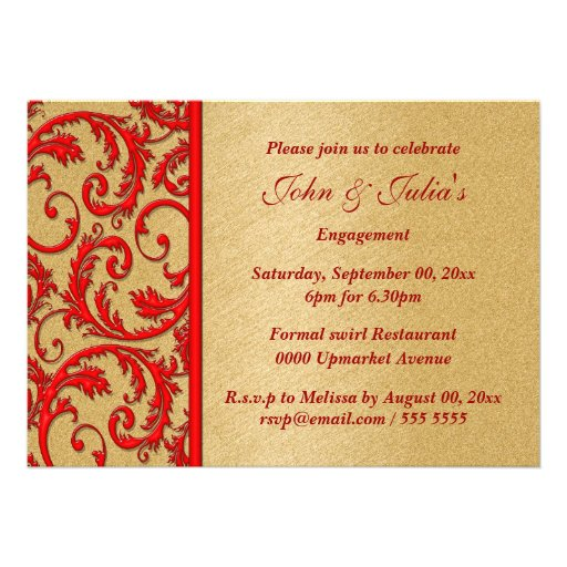Personalized Black Red Wedding Invitations