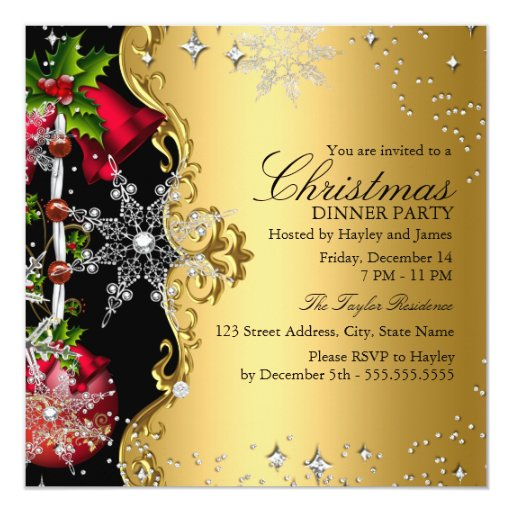 Black Purple Gold Gothic Dinner Party Invitations Template