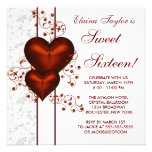 Red Heart Damask Sweet 16 Birthday Party Personalized Invitation